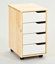 Rollcontainer 4 Schubladen Massivholz Farbmix weiß natur L-Gorlon-R
