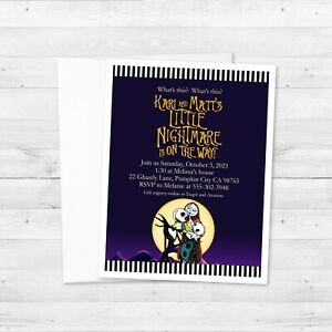8 The Nightmare Before Christmas Baby Shower Invitations, Custom Jack and Sally