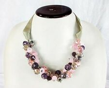 ALI KHAN New York Necklace Purple Jet Bead Cluster Frontal Necklace