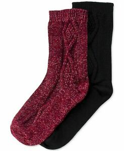 F280 Hue Women's 2 Pack Cable Boot Socks - One Size