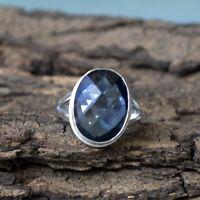 Checker Cut Neon Blue Apatite Quartz 925 Sterling Silver Handmade Gift Ring