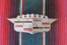 1950's CADILLAC HOOD TRUNK EMBLEM CREST ORNAMENT BADGE DECAL CHROME BEZEL