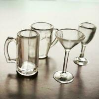 4pcs/set Red Wine Glass Dollhouse miniature Drinking set scale glass 1:12 S6O5