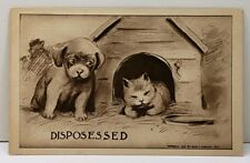 DISPOSESSED Cat in Puppy's Dog House Artist Ruth Langley Postcard A12