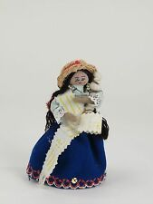"""Vintage hand made girl farmer lady doll 5"""" straw hat cotton pigtails braids"""