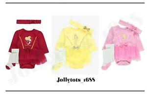 Baby Girls Disney Princess Tutu Bodysuit Tight Headband Set Fancy Dress Book Day