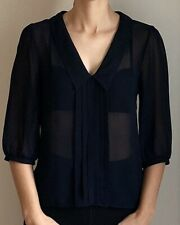 ASOS | Size 8 | Sheer Blouse Top | 3/4 Sleeve | Navy Blue | Work Corporate Party