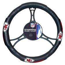 Official NFL Football KANSAS CITY CHIEFS Logo Black Premium Steering Wheel Cover