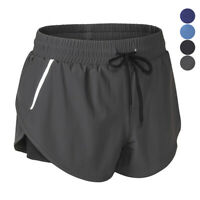 Womens Sports Joggers Casual Workout Shorts Running Gym Elastic Waist Reflective