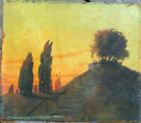 ::ROMANTIKER BIEDERMEIER UM 1840 °SONNENUNTERGANG HÜGEL RUINE BURG TURM TREPPE