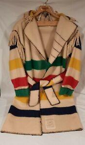 Hudson Bay Wool 4pt Blanket Capote Coat~Black Powder Rendezvous, Sz L-XL ~CLEAN