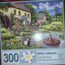 """300 Piece Large Format D.Cook Art Puzzle""""Waiting By the Water Wheel"""" 18"""" X 24"""""""