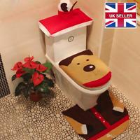 Xmas Rudolph Reindeer Toilet Seat Cover & Mat Bathroom Set Christmas Decoration