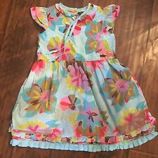 Oilily Girls Blue Floral Dress Sz 128 7/8