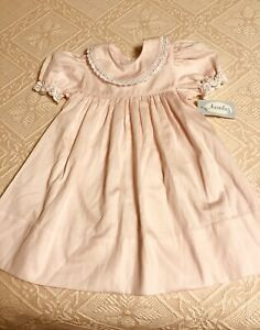 Auraluz Light Pink Dress White Lace Hand Embroidered 18 Months New with Tags