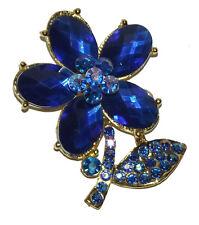 New blue gold flower Rhinestone Crystal Pin Brooch wedding party #16