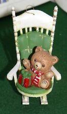 "Vintage Teddy Bear Rocking Chair Christmas Tree Ornament , hard plastic ,3-1/2"""