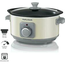 Morphy Richards Slow Cooker Sear and Stew 3.5L Cooking Pot with Glass Lid, Cream