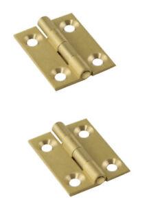 """2 X Mini 19mm 3/4"""" BRASS BUTT Hinges Jewellery Box Trinket Cigar Door Small Case"""