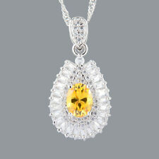 New Cubic Zirconia 18K White Gold Plated Yellow Citrine Oval Pendant Free Chain