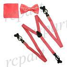 New in box Men's Convertible Elastic Strap Suspender Bowtie Hankie Party Coral