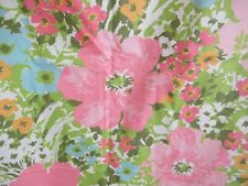 Mod Groovy 60s Unfinished Curtain Panel Pink Blue Green Floral Vintage