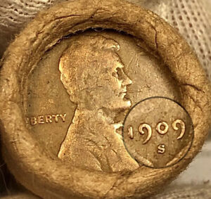 OLD LINCOLN WHEAT CENT PENNY ROLL 1909-S & VDB ENDS BANK OF SAN FRANCISCO WRAP!