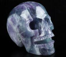 "Colorful  5.1"" FLUORITE Carved Crystal Singing Skull, Crystal Healing"