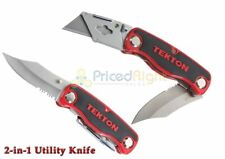 New Dual Blade Folding Utility Knife Quick Change Serrated / Razor Blade w/ Case