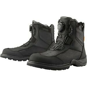 Icon Black Stormhawk Waterproof Boots for Motorcycle Street Riding