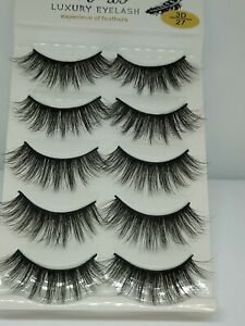 UK 5 Pairs 3D Fake Eyelashes Long Thick Natural False Eye Lashes Set Mink Makeup