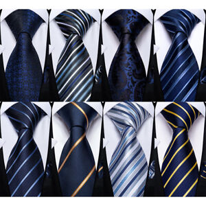 Navy Blue Classic Stripped Checks Solid Dots Mens Silk Tie Necktie Wedding Set
