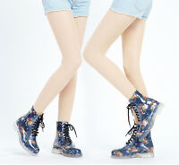 New Womens Rain Shoes Floral Fashion Ankle Rain Boots Waterproof Lace Up Comfort