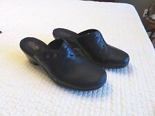 Clarks Bendables Womens Addey Trust Black Leather Clogs Shoes 64946 Size 9 M