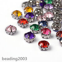 100pcs Mixed Acrylic Rose Montees Sew on Rhinestones Beads Jewellery 8x8x6mm