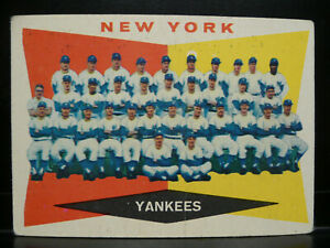 1960 Topps #332 New York Yankees Team Card - UNMARKED!!!