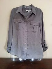 COLDWATER CREEK Women's PS 6/8 Gray 100% Polyester Adjustable Sleeve Shirt