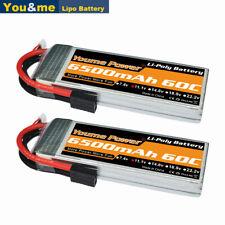2Pcs Youme 11.1V 6500mAh 3S LiPo Battery 60C Traxxas For Traxxas RC Car Truck