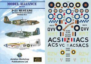 MODEL ALLIANCE DECALS 1/72 P-51 Mustang Mk.I/IV 19 241 Sqn (RAF/RNZAF/RAAF/RCAF)