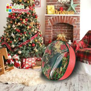 Christmas Wreath Clear Dual Zipped Storage Case Bag Cover Carry Handles 45x15 cm