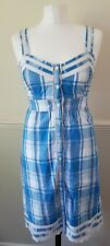 Fat Face Ladies Sleeveless Cotton Summer  Check Shirt Dress UK 8 EU 36 New £65