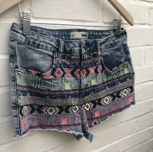 Topshop Moto High Waisted Denim Shorts HotPants W30 12 Blue Embroidered Festival