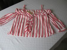 Ladies Pink & White Blouse Top  Size 12 Papaya New With Ticket