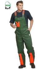 Schnittschutzhose Kl. 1, Forsthose WOODSafe®, kwf-geprüft, Latzhose grün/orange