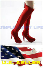 ❶VERYCOOL 1/6 female Red fashion Knee-High Boot black widow phicen kumik USA❶