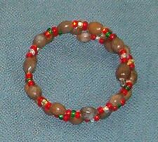 Double bracelet: Brown Hawaiian Job's Tears and red green white gold seed beads