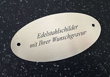 TÜRSCHILD aus Edelstahl (V2A) - 100x50mm oval - mit Ihrer WUNSCHGRAVUR