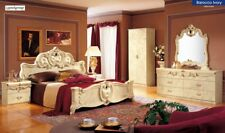 ESF Barocco Traditional King Bedroom Set in Ivory Lacquer, 5-Piece