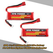2x HPB Replacement Li-po Battery 11.1V 2200mAh 25C MAX 35C 3S T Plug US!