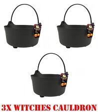3x Halloween Brujas Caldero maneja grandes Truco tratar Cubo De Caramelo Vestido de fantasía